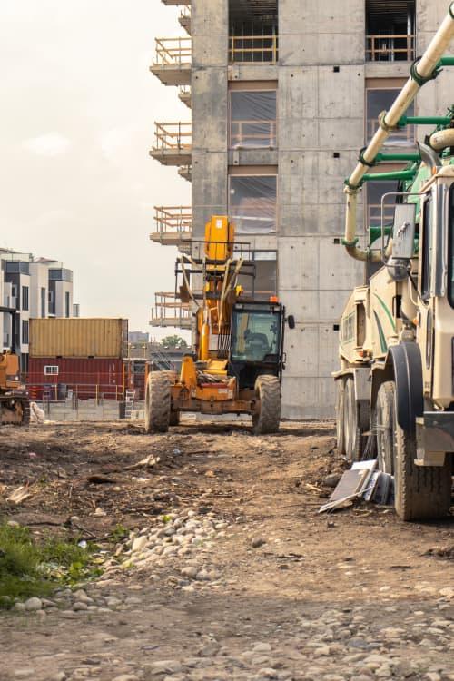 telehandler driving on construction sire