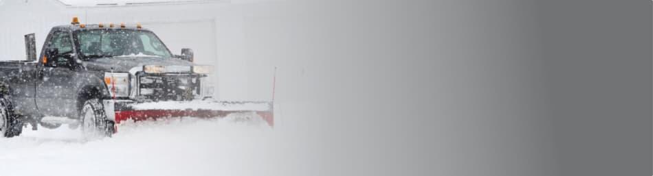 Winter Truck Plowing Snow
