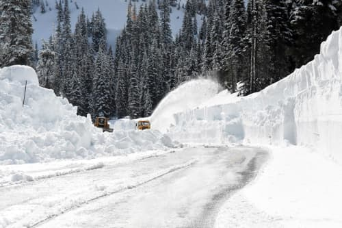 Machinery clearing snow.