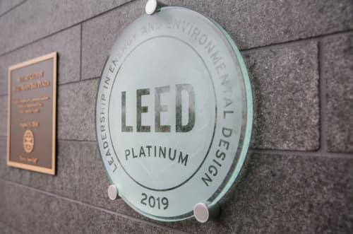 LEED Platinum logo on a building