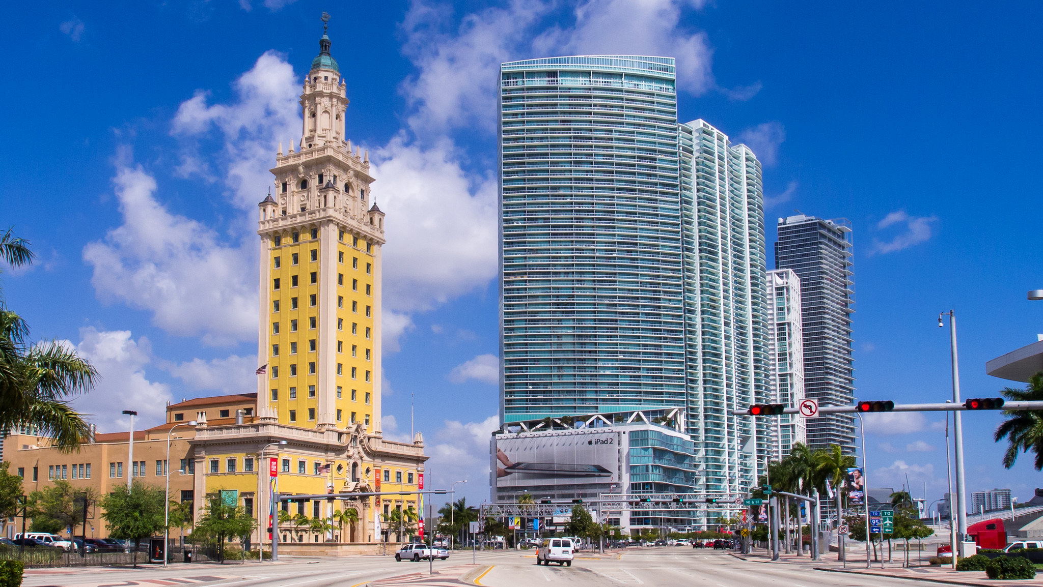 Miami Freedom tower next to a modern building in Downtown Miami