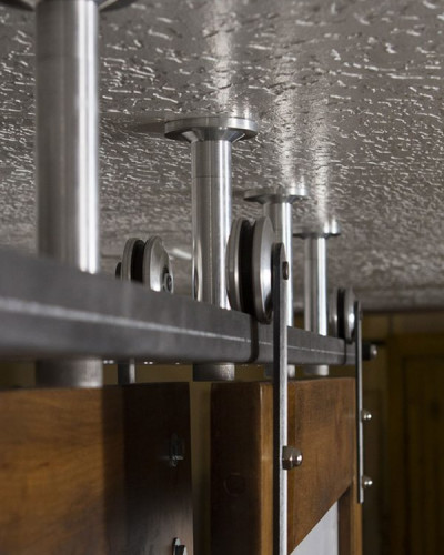 Bi-Parting Double Sliding Barn Door Hardware Kit   Rustica