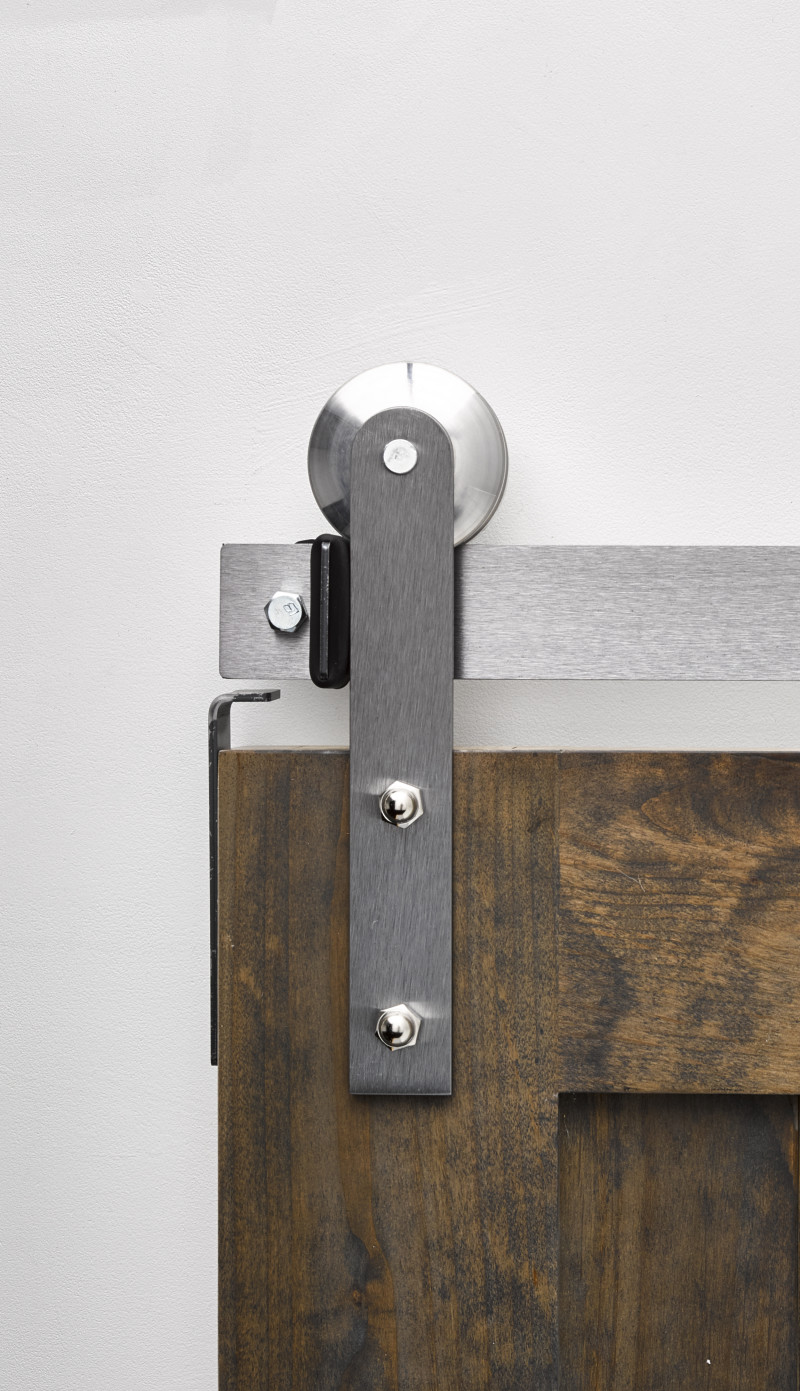 Merveilleux ... Barn Door Hardware. Shown With Our Brushed Steel Finish + Metal Convex  Wheel