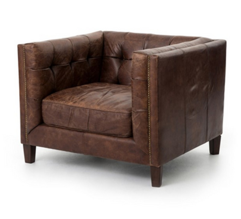 Abbott Brown Leather Club Chair