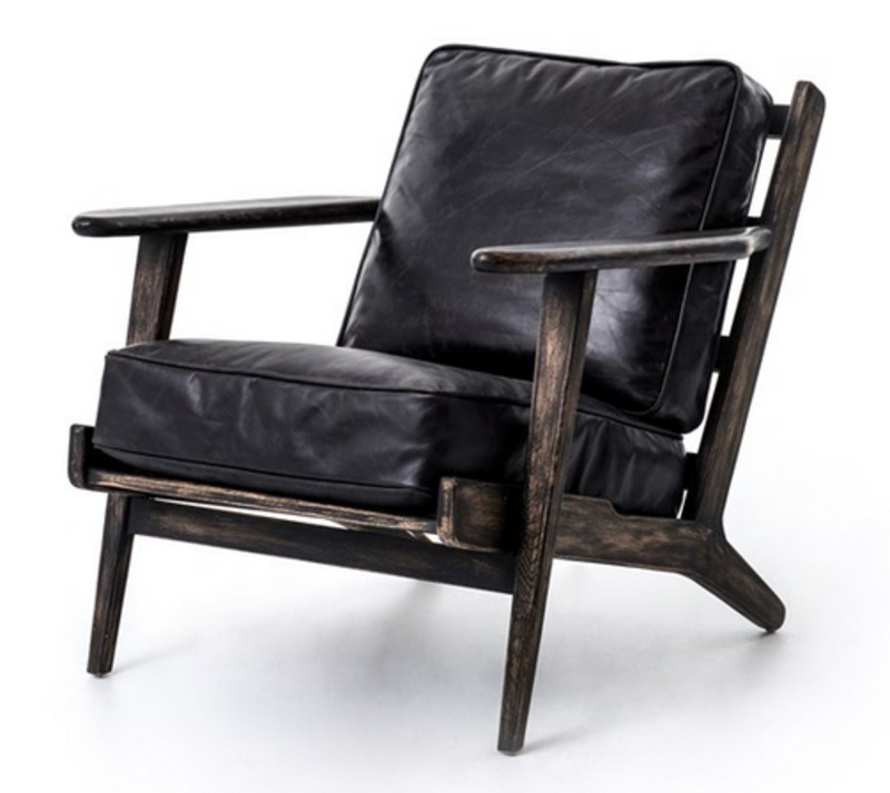 Brooks Lounge Chair in Black Leather