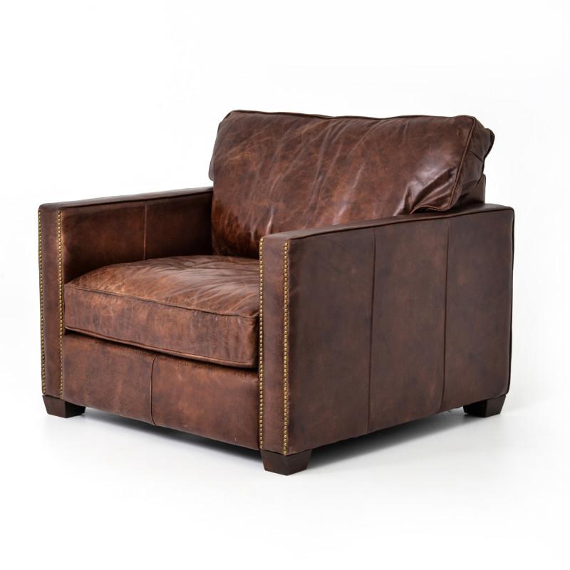 Larkin Brown Leather Club Chair