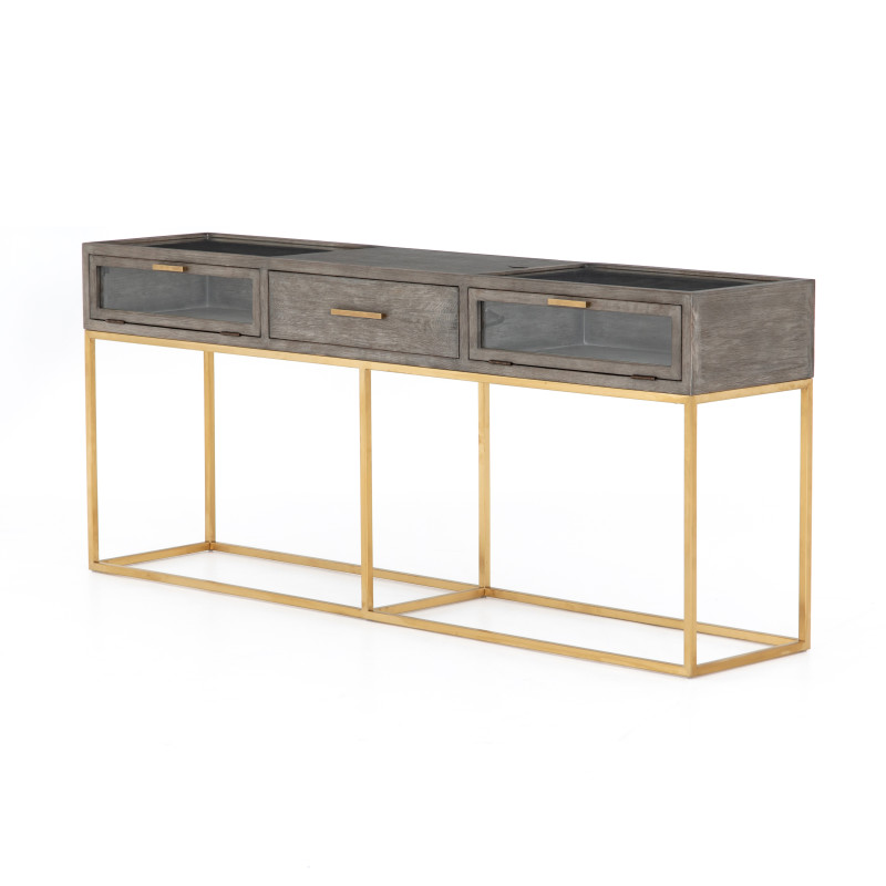 Andreas Wood and Brass Console Table