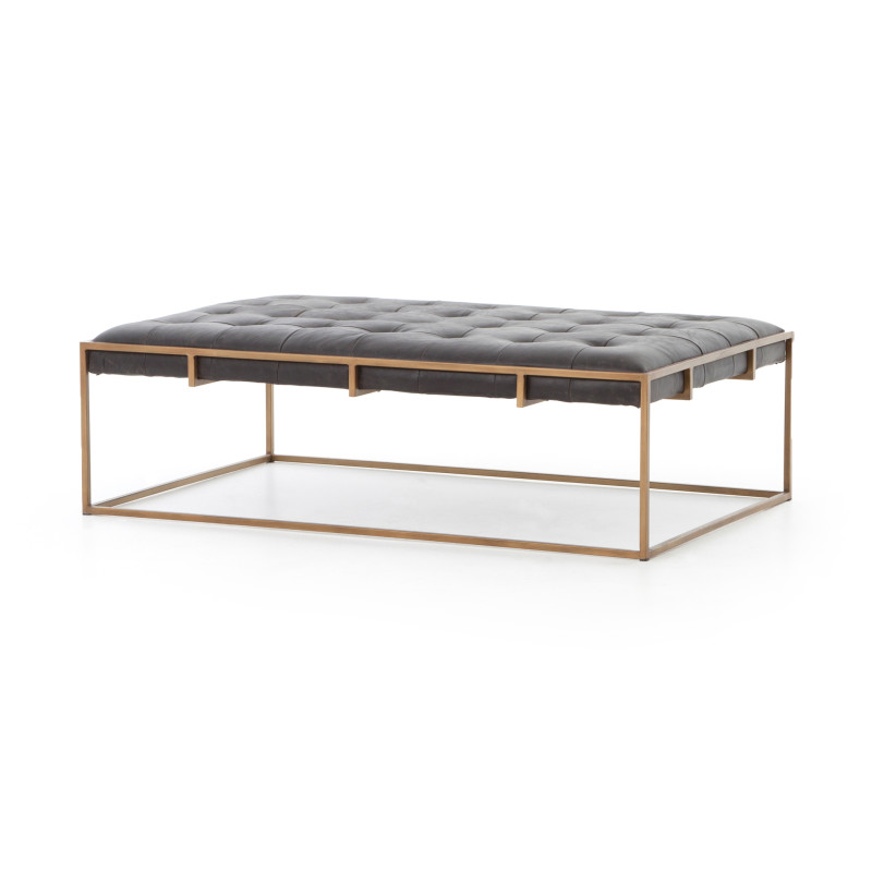 Small Oxford Tufted Leather Modern Coffee Table