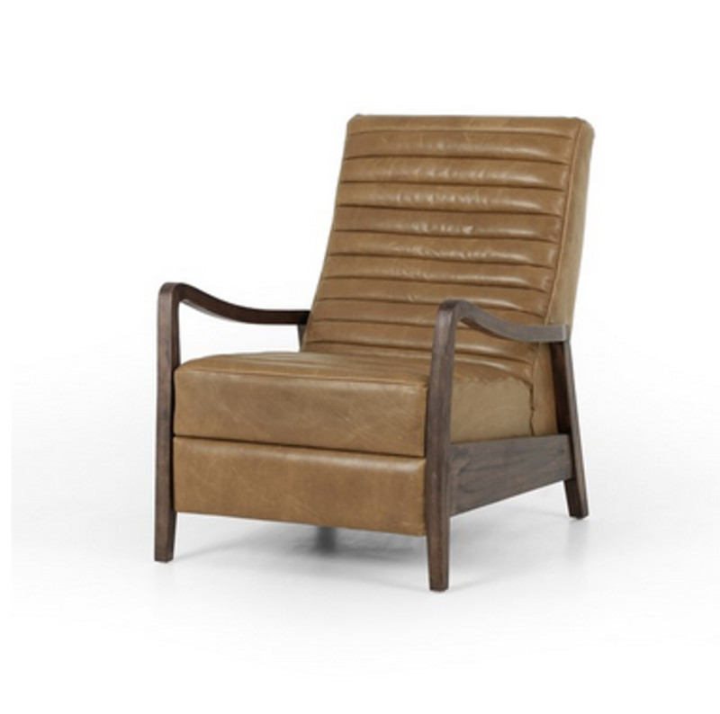 Chance Taupe Leather Recliner