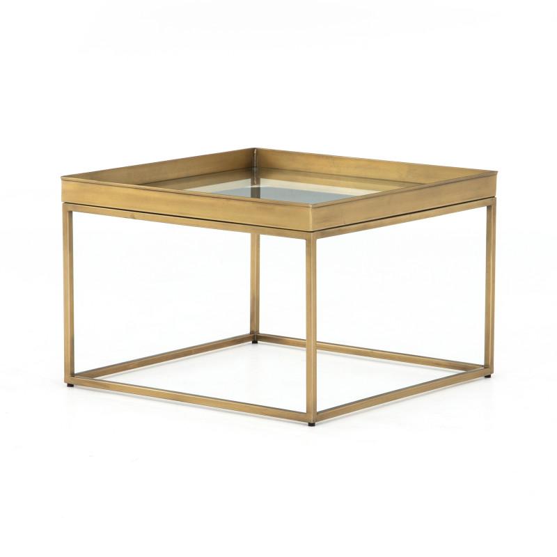 Modern Bronze & Glass Top Kline Coffee Table