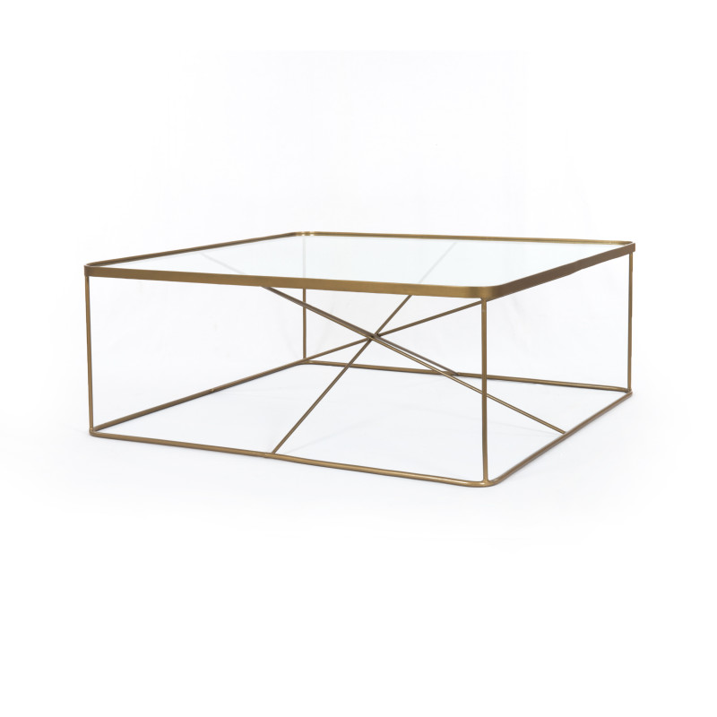 Lucas Brass & Glass Square Coffee Table