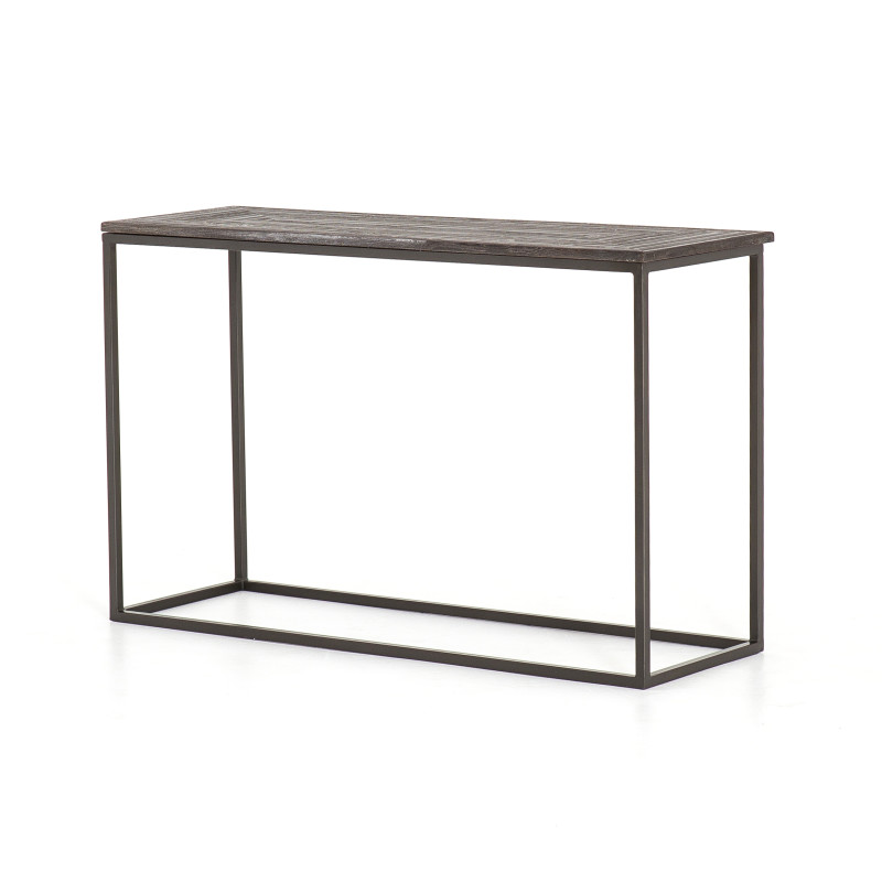 Linden Iron Console Table with Stone Top
