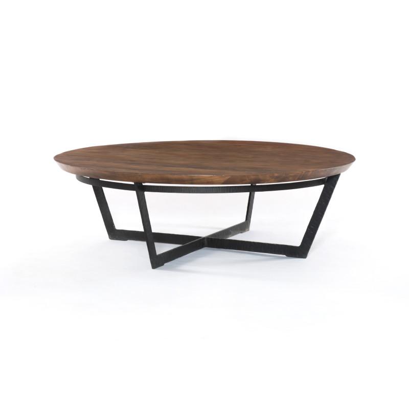 Elegant Felix Round Wood & Metal Coffee Table