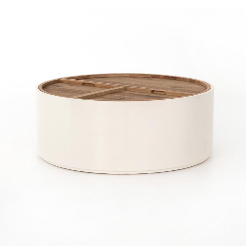 Cas Drum White Cream Coffee Table