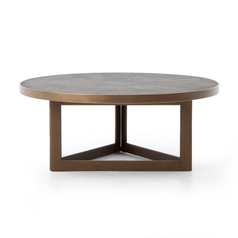 Faux Shagreen Round Coffee Table