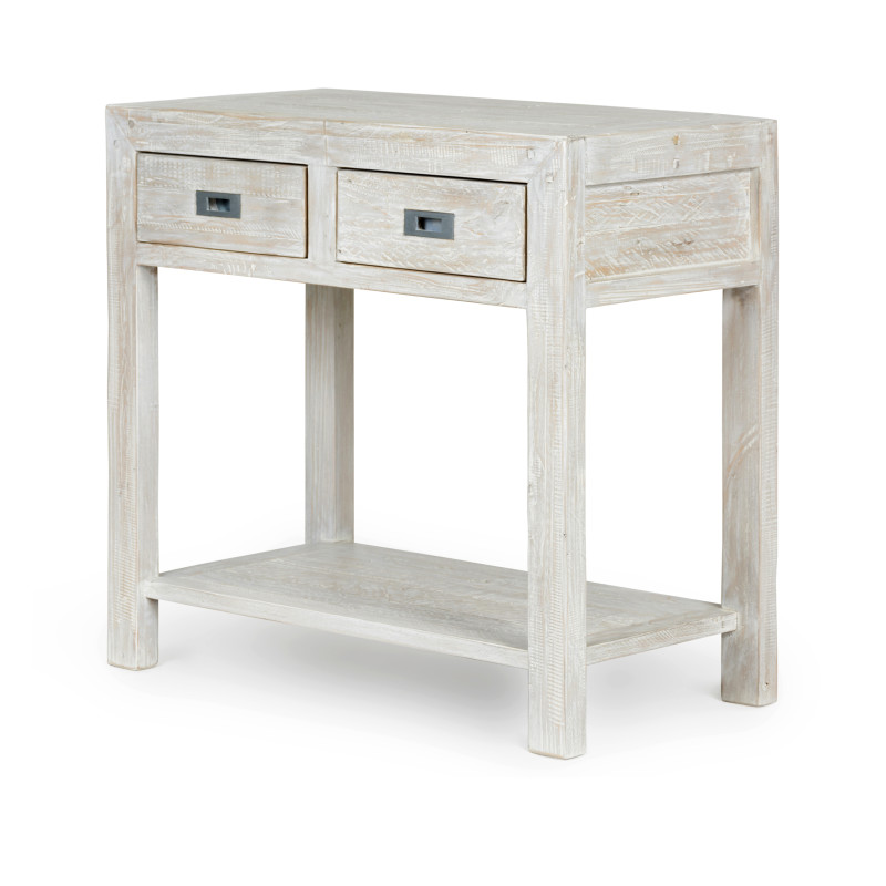 Post & Rail Distressed White Console Table