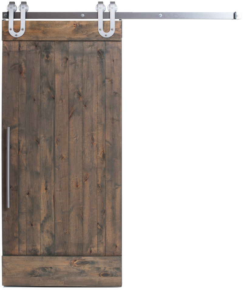 Vertical slats interior sliding barn door rustica hardware for Barn door pictures