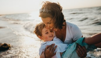 Mother and child on Jumeirah beach