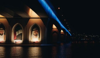 Image of His Highness Sheikh Mohammad on bridge