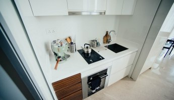 White kitchen with dishwasher