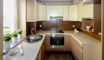 Light color wood interiors for modern kitchen