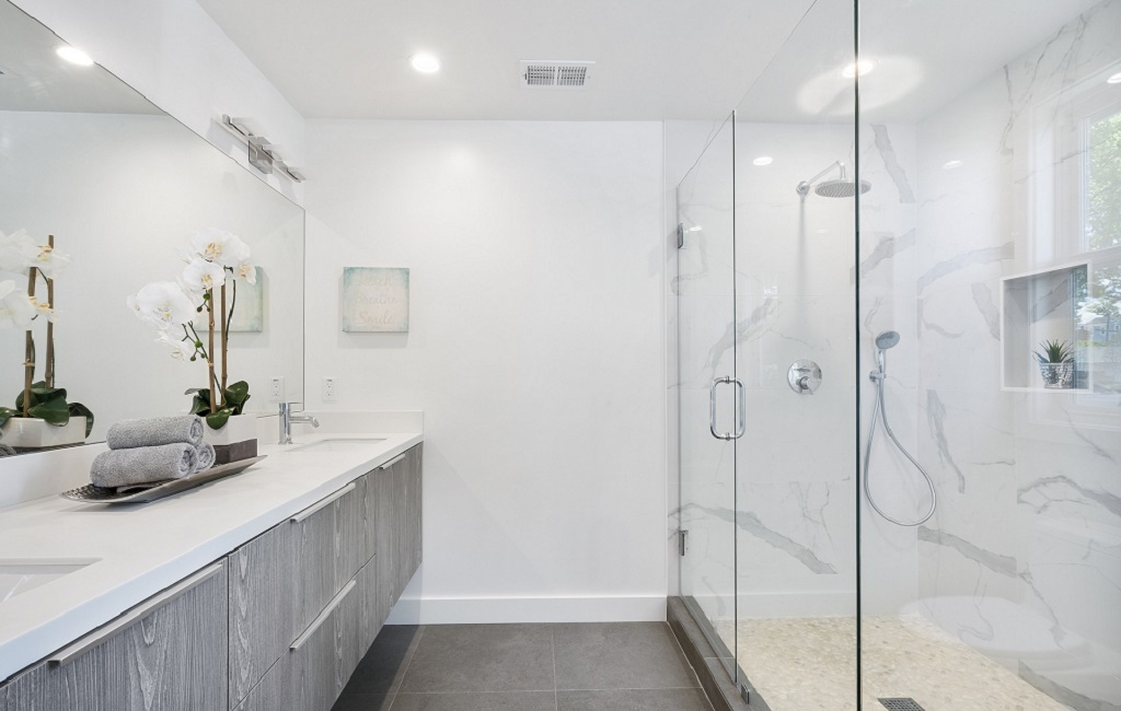 High end bathroom with shower cube