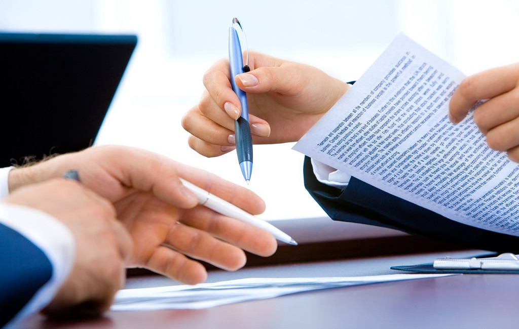 Paperwork for real estate contract