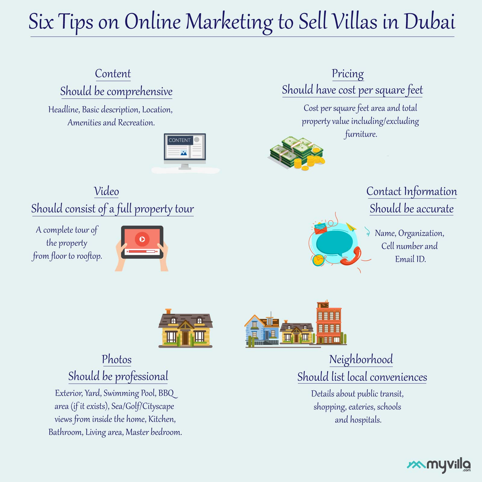Six Tips on online marketing to sell villas in Dubai