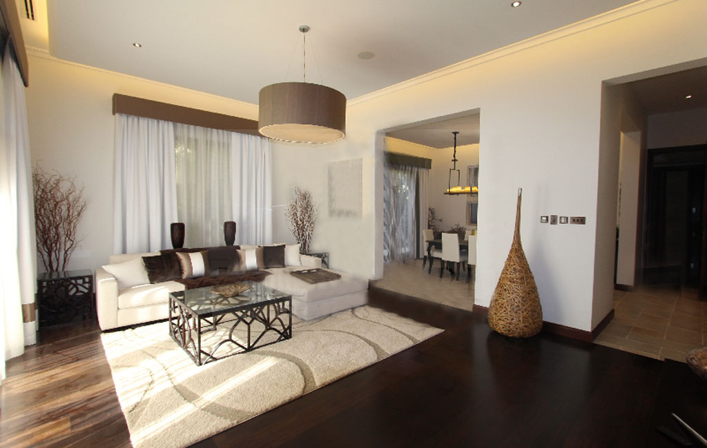 Living and Dining room at Desert Leaf,Al Barari