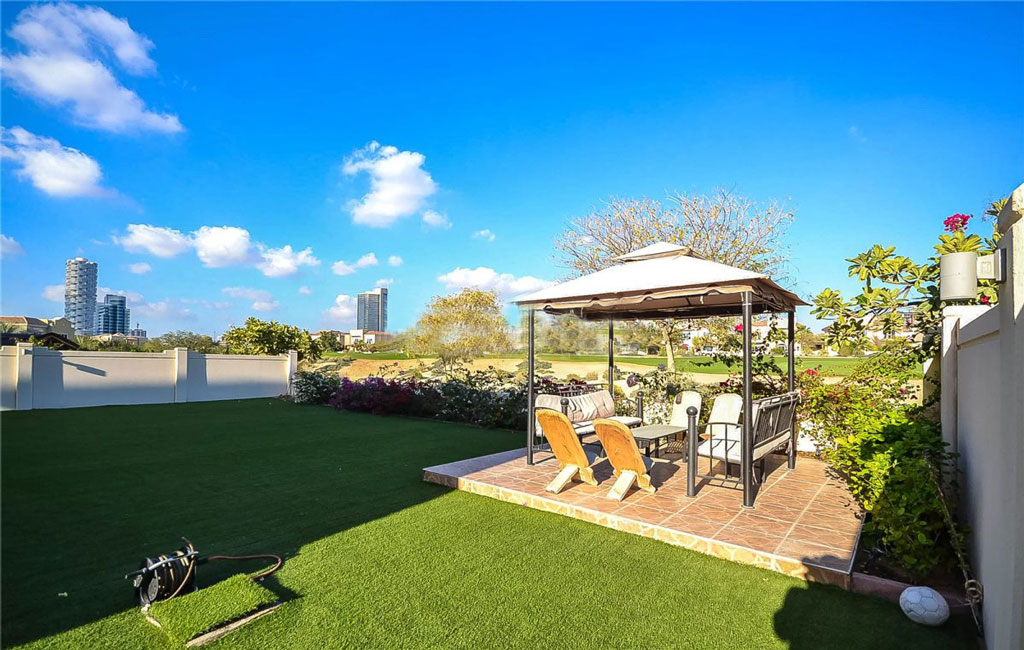 Stunning outdoor views from yard in Victory Heights Dubai