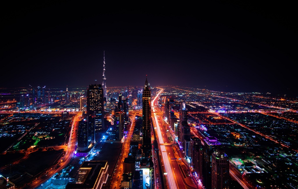 Dubai aerial view with road connectivity