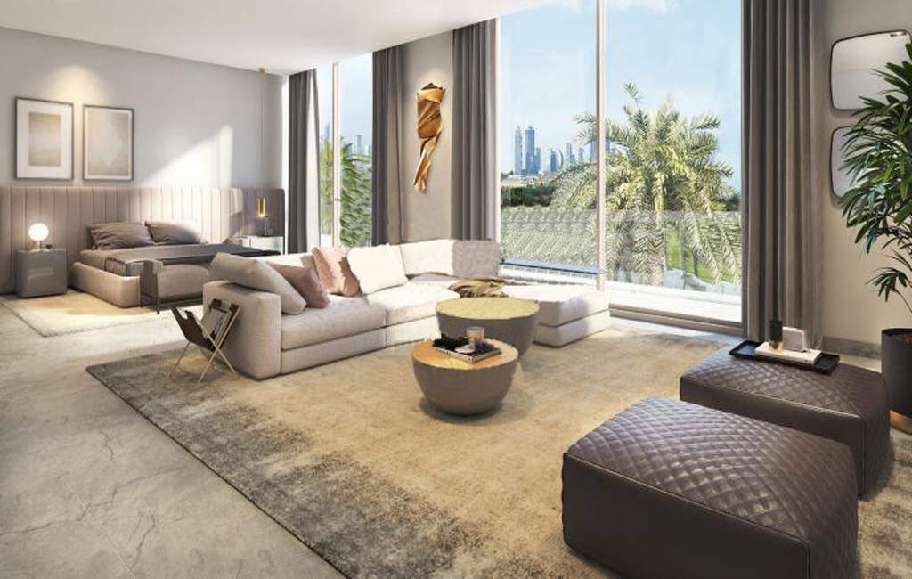 Living room of Golf Place in Dubai Hills Estate