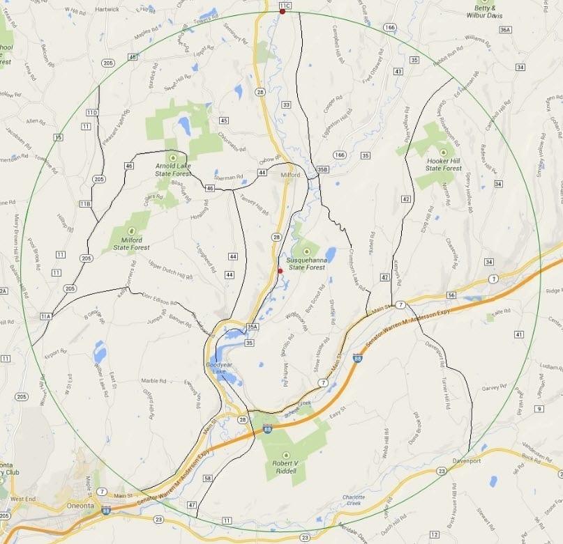 DOAS Oneonta Area Christmas Bird Count radius map.