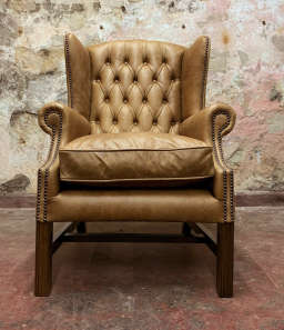 No.8 Chesterfield Wing Chair in Vintage Honey Leather