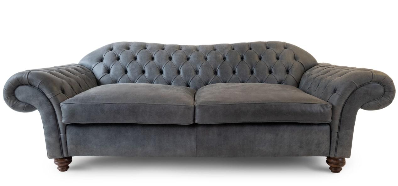 Grey Leather Chesterfield Sofas   British handmade Grey Chesterfields