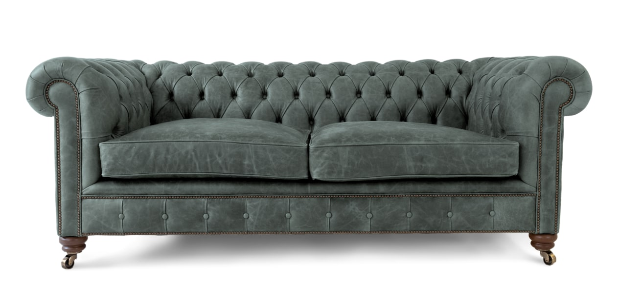 Our Vintage Grey Leather Chesterfield Sofa | 3 Seater | Handmade