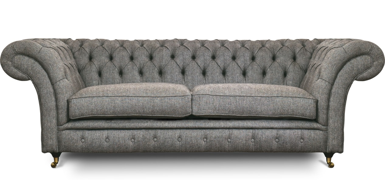 Light Grey Hessian Herringbone Wool 4 Seater Chesterfield Sofa Our S W James No 3 Is Available To Buy Online