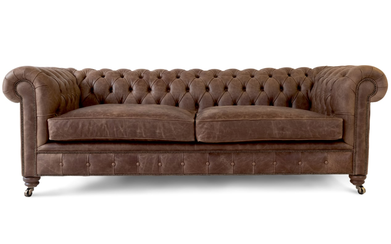Introducing Our Vintage Brown Leather Chesterfield Sofa Armchair