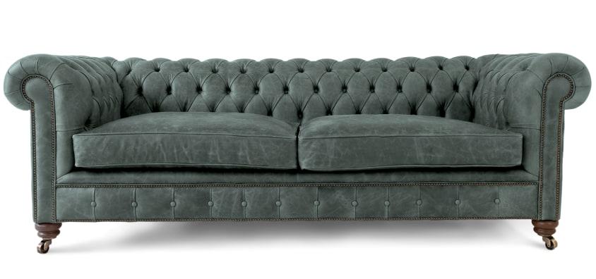 Grey Leather Chesterfield Sofas | British handmade Grey Chesterfields