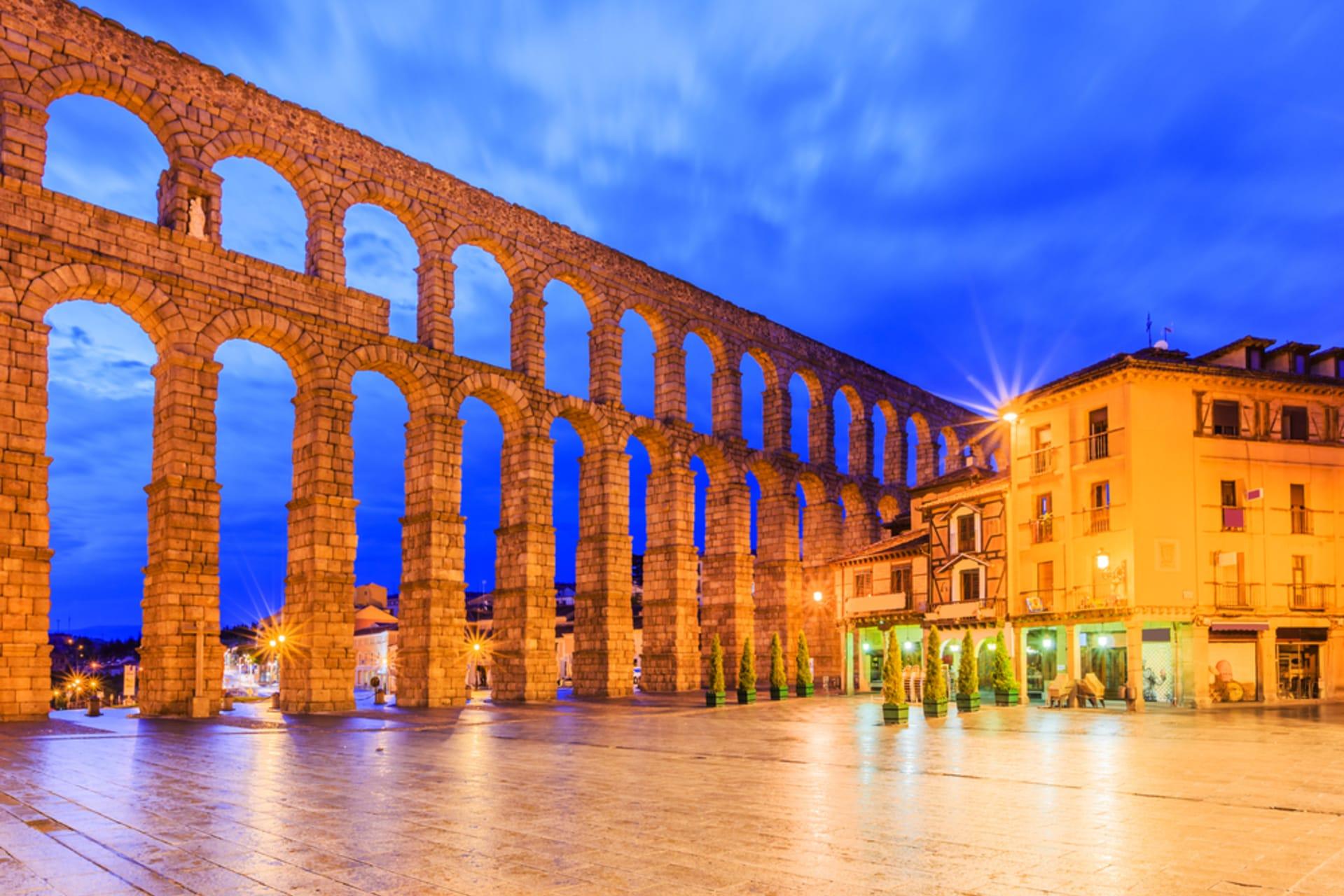 Segovia - Roman-Medieval Segovia by night - the World Heritage town of Castille