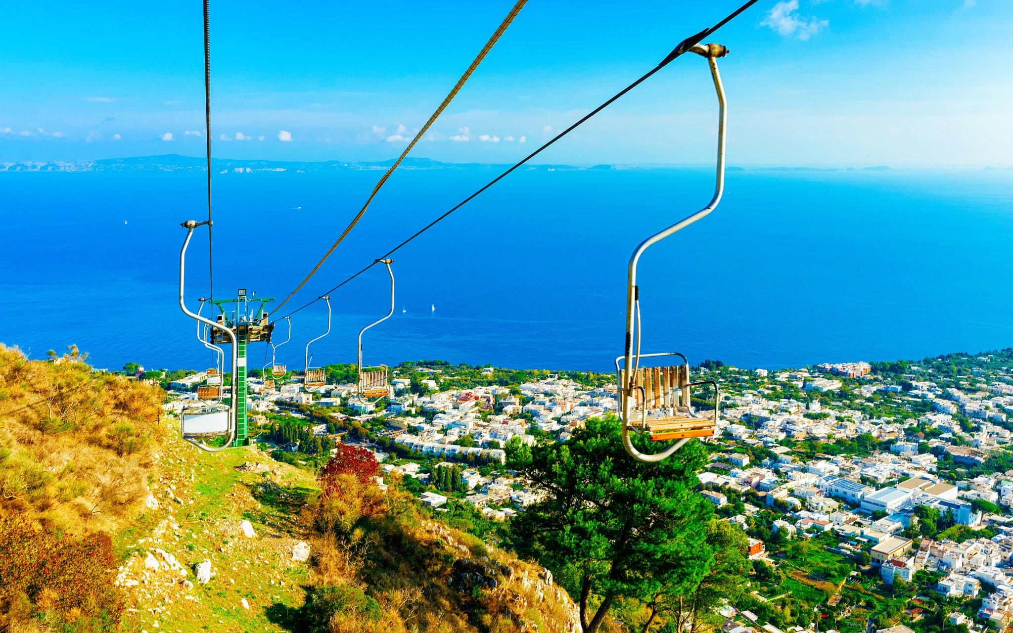 "Capri Island - The Chair Lift of Anacapri and the Maiolica Tiles ""Heaven"""