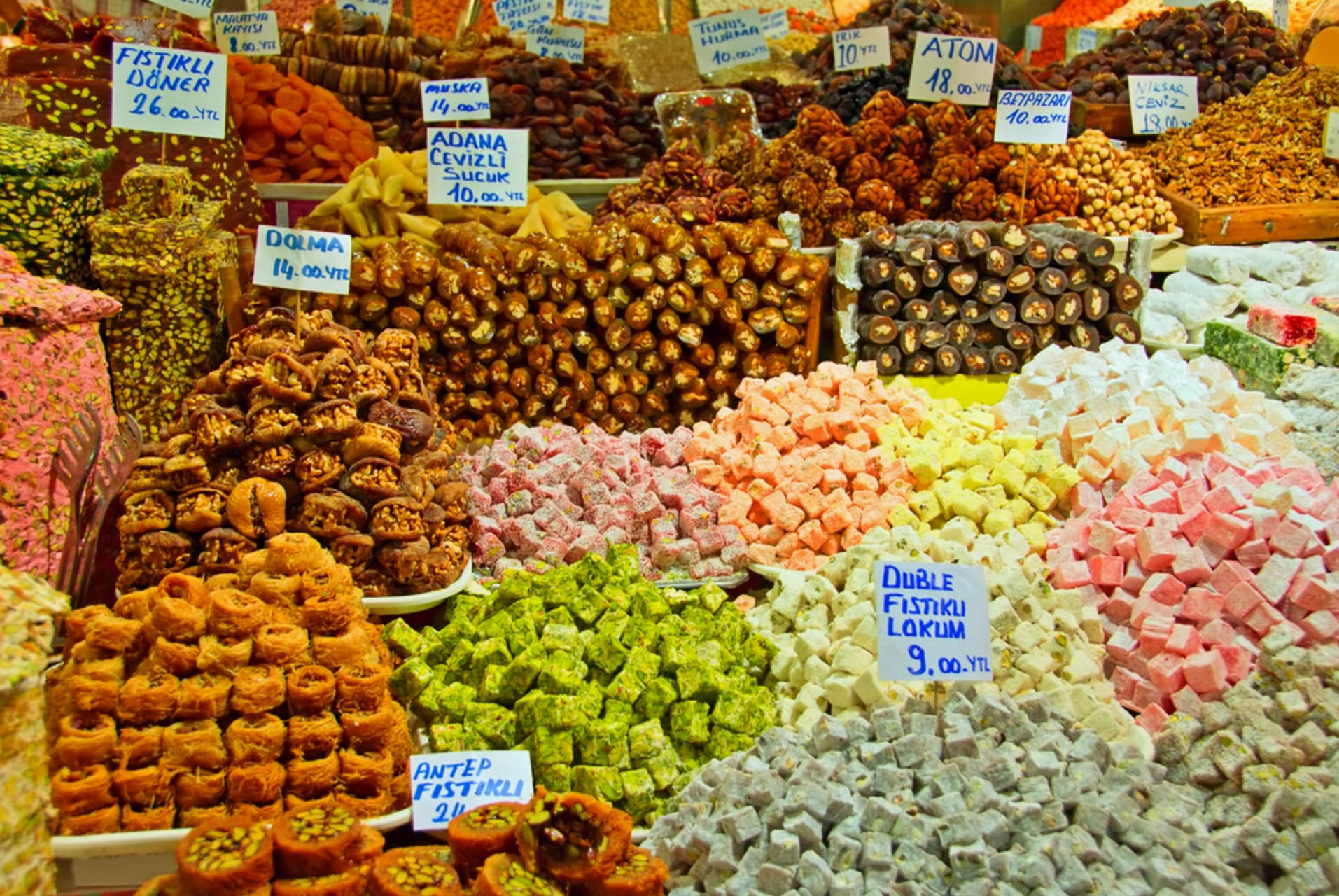 Istanbul - Food market on Asian side and delicacies of Turkey