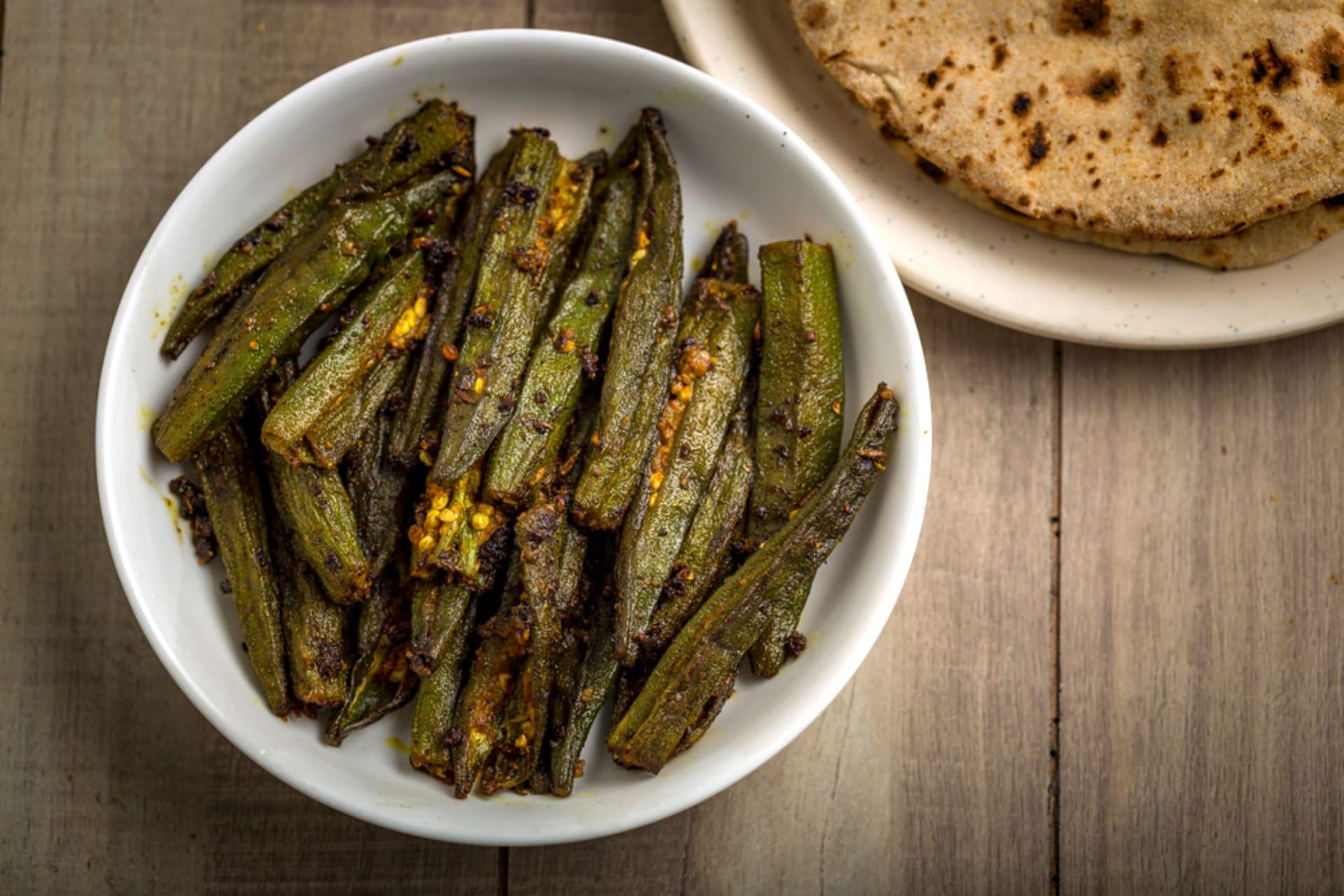 Delhi - Tempting Home Made Bhindi (Ocra) with Phulka Bread