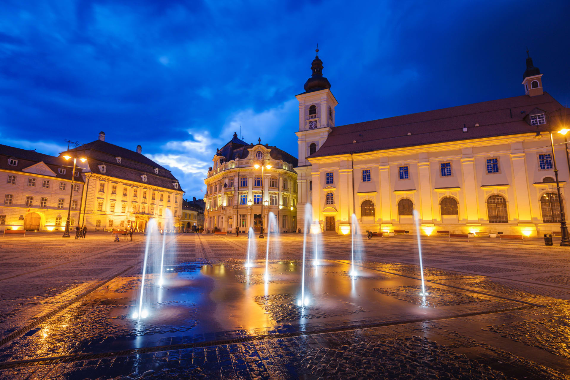 Transylvania - The medieval city of Sibiu, by night