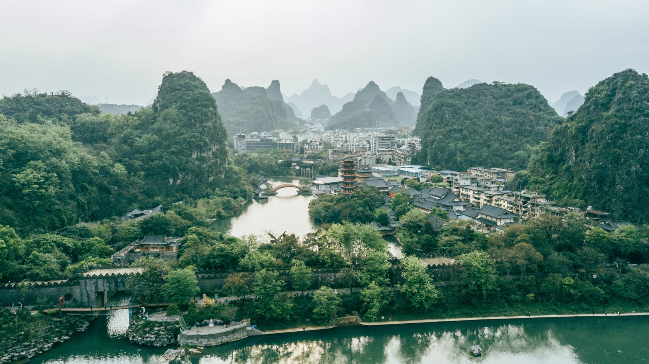 Guilin - Birds-eye View of Guilin from Elephant Trunk Hill