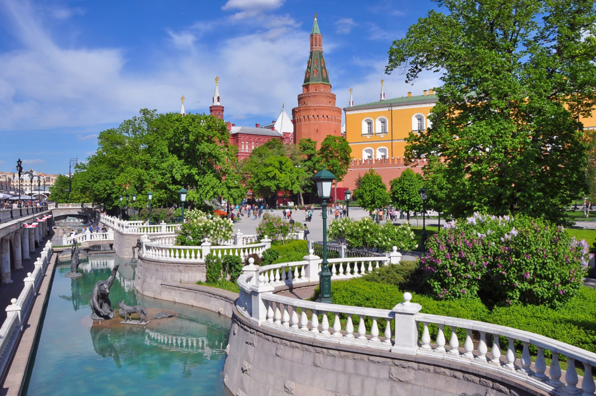 Moscow - Alexander Gardens and Kremlin Towers