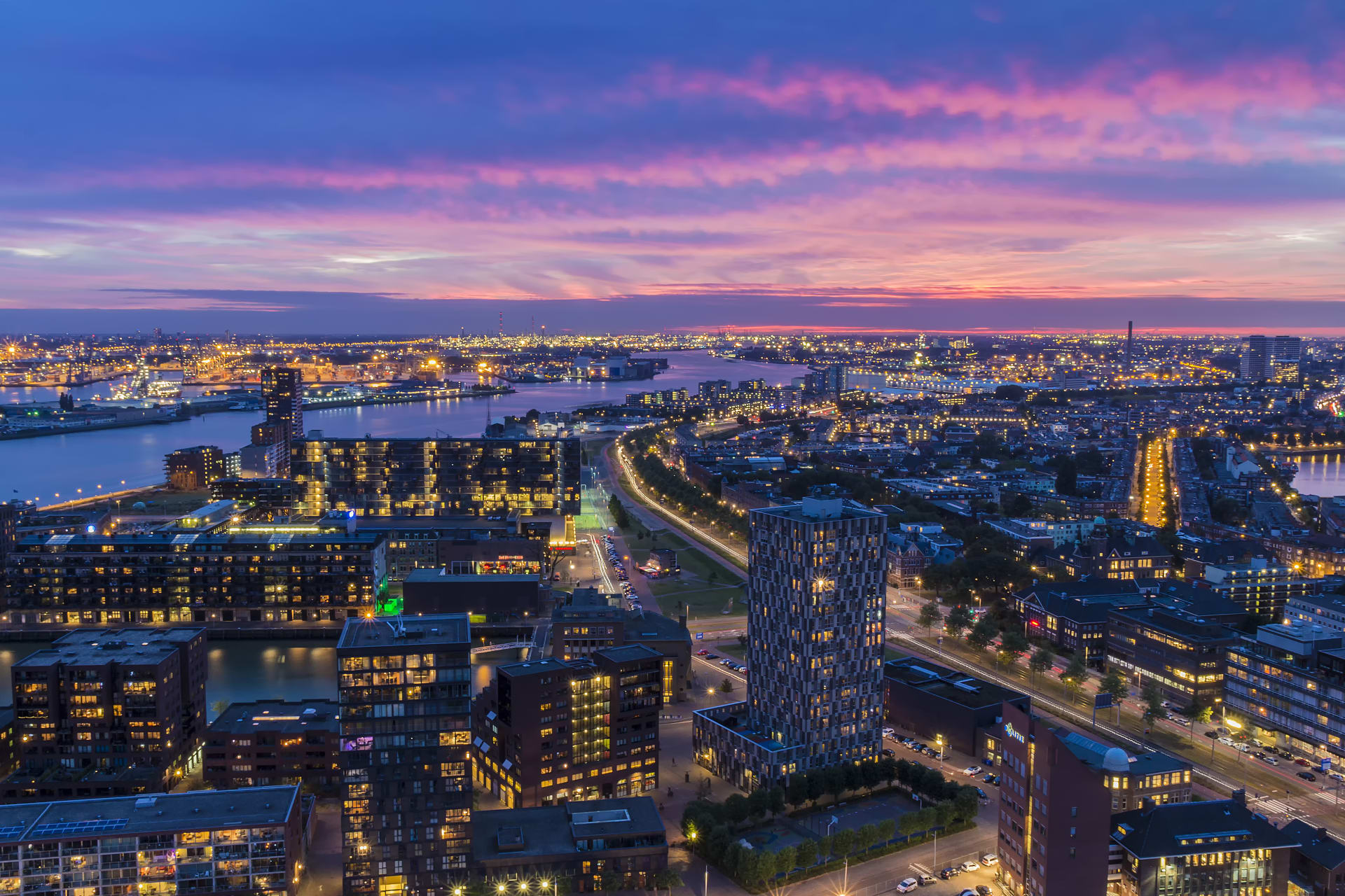Rotterdam - Rotterdam by Night, Manhattan on the Meuse River