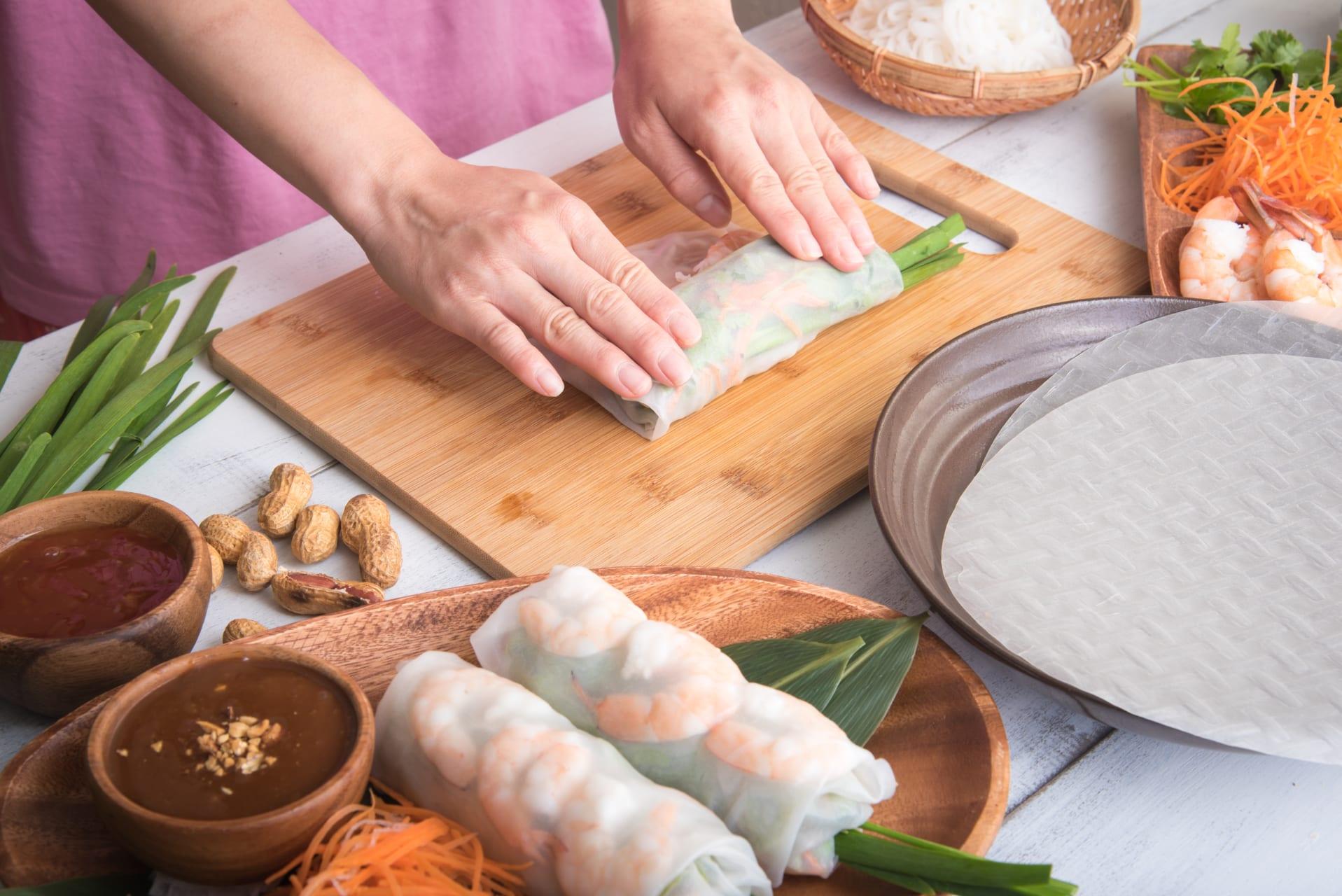 Ho Chi Minh City - Cook With A Vietnamese Mom - Day 1: Gỏi Cuốn & Chân Nấm Xào Lăn (Summer Rolls & Mushroom Curry)