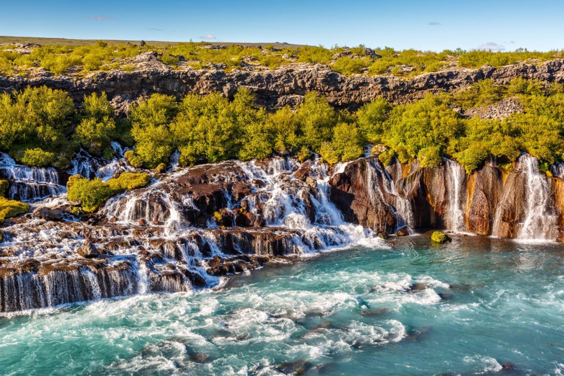 West Iceland - Hraunfossar - Lavafields and Waterfalls