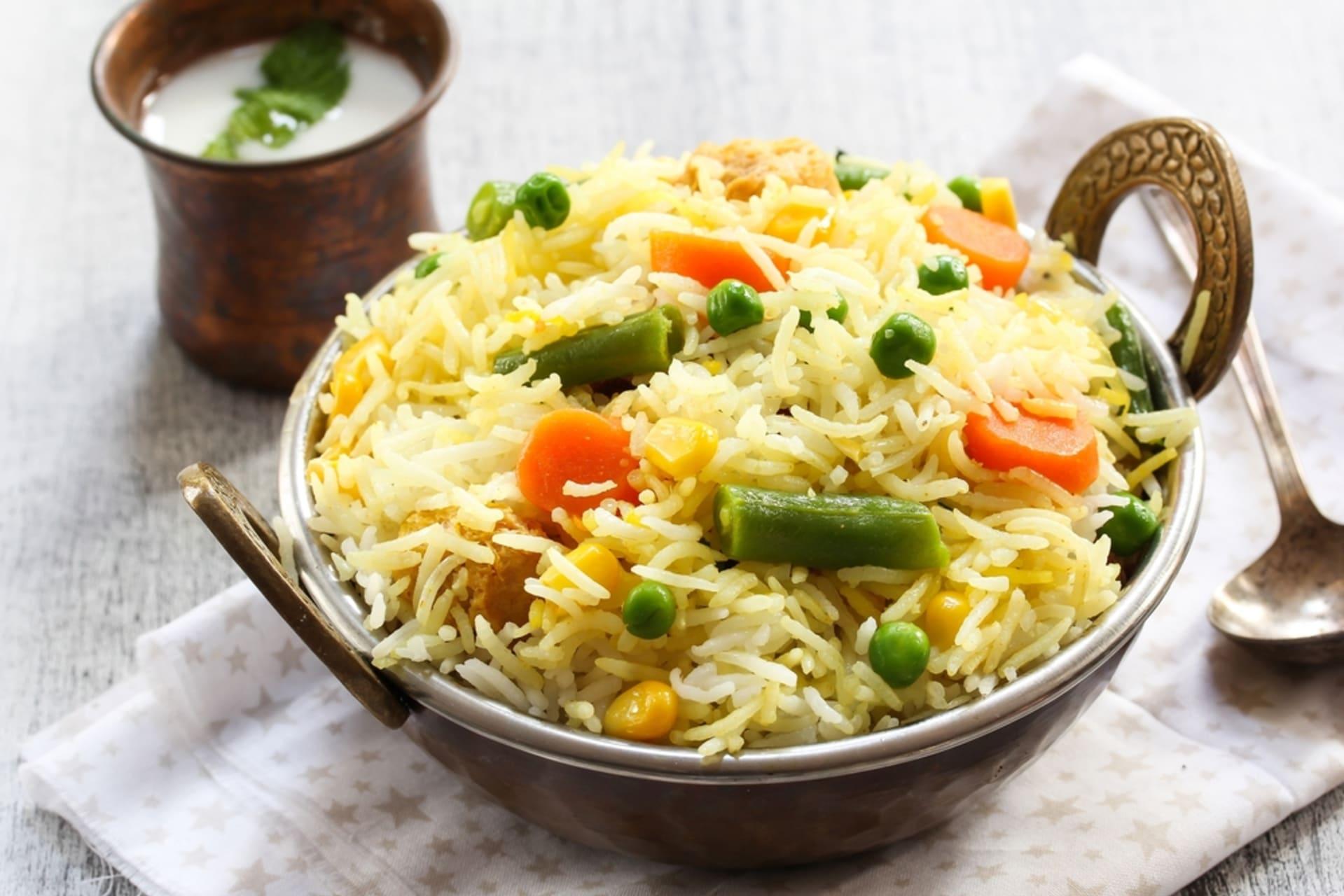 Delhi - A Bowl of Indian styled Vegetarian Pulao ( rice) with Raita